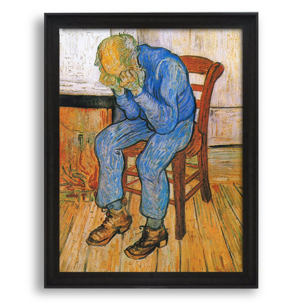 """Wall26 - Sorrowing Old Man (At Eternity's Gate), 1890 by Vincent Van Gogh - Framed Art Print - Famous Painting Wall Decor - 20""""x16"""" - Dark Coffee Brown Frame"""