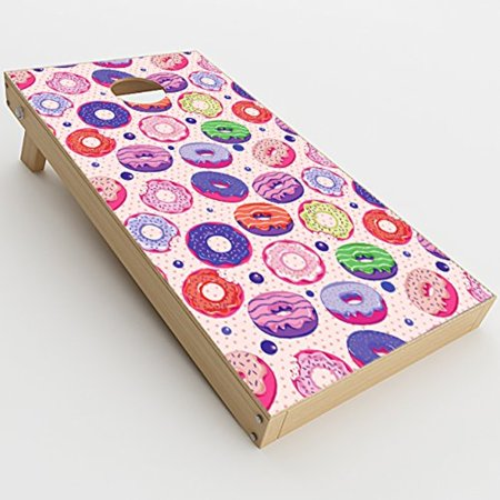 Skin Decals Vinyl Wrap for Cornhole Game Board Bag Toss (2xpcs.) / Donuts yum Doughnuts Pattern - Donut Hole Eyeballs