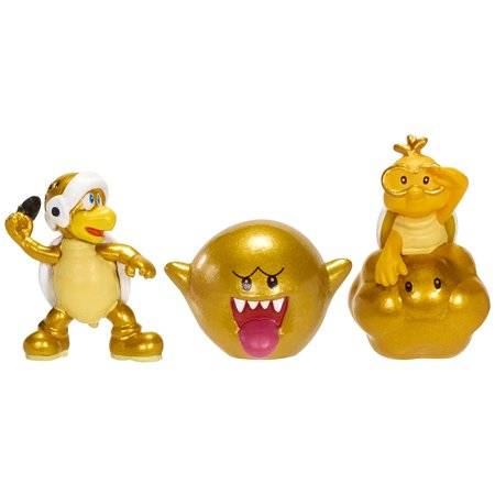 NINTENDO Mario Bros U Micro Figure (3-Pack : Gold Lakitu/Gold Boo/Gold Turtle Guy), For the first time ever, collect your favorite characters from Mario Bros U in micro.., By World of