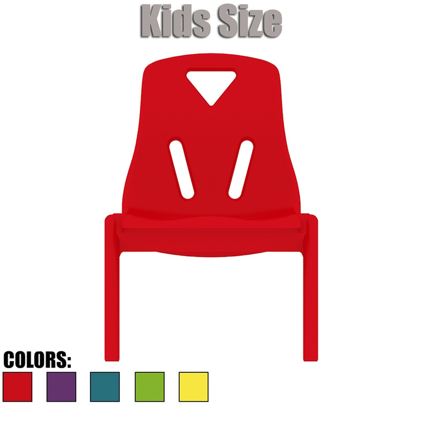 "2xhome - Red - Kids Size Plastic Side Chair 10"" Seat Height Red Childs Chair Childrens Room Chairs No Arm Arms Armless Molded Plastic Seat Stackable"