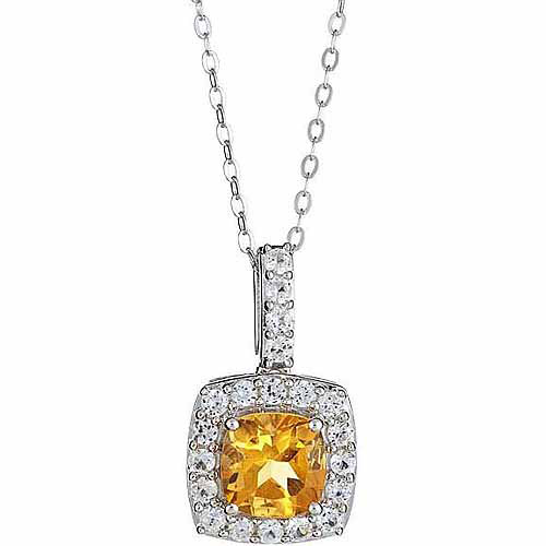 Citrine and Created White Sapphire Sterling Silver Pendant