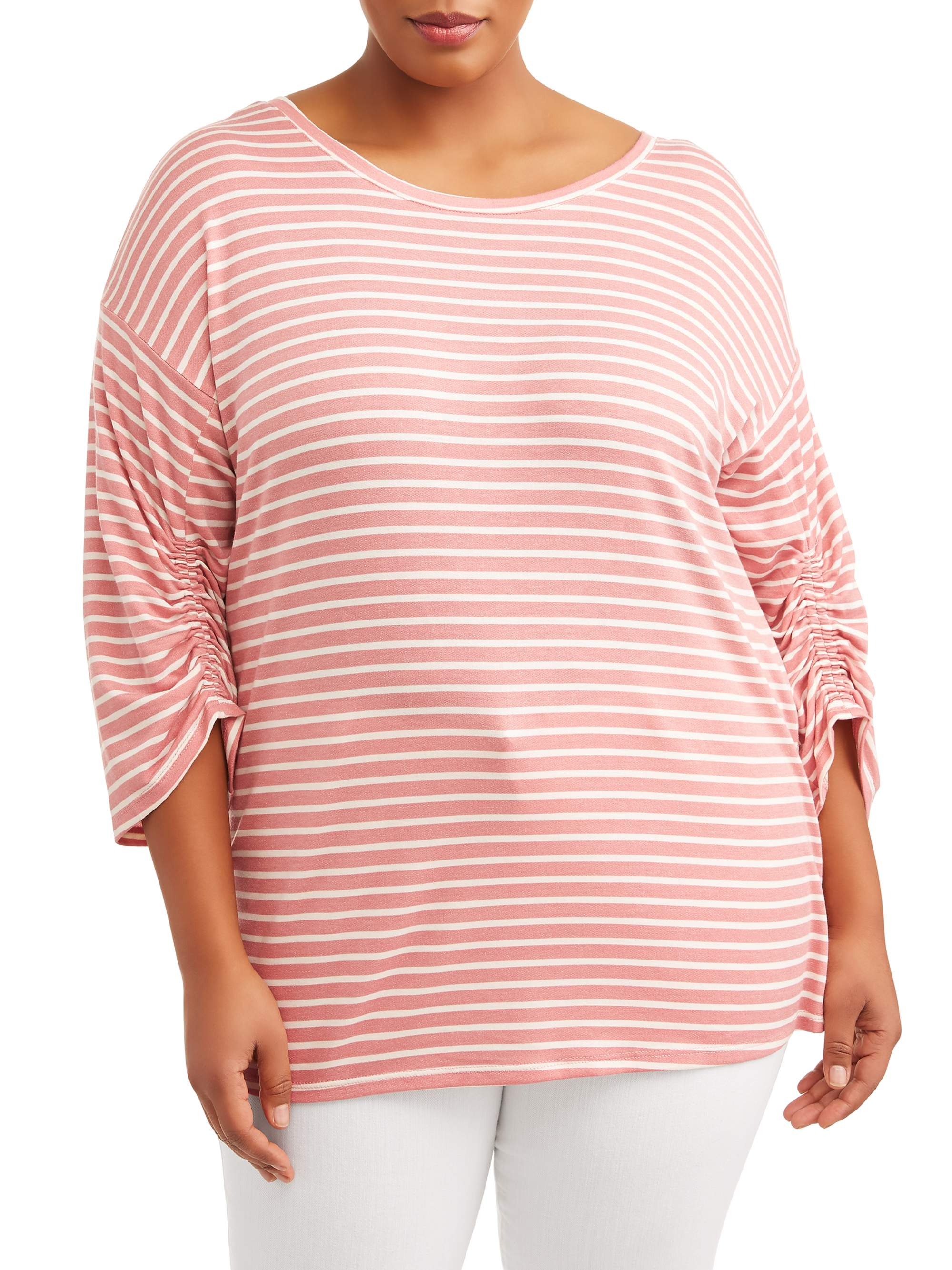 Como Blu Women's Plus Size Shirred Bubble Sleeve Top