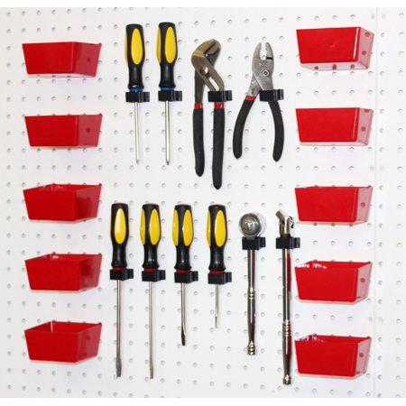 - WallPeg Pegboard Hooks & Red Plastic Pegboard Bins 20 Pc Kit # 10 R 10 BX
