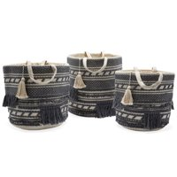 Hand Woven Macrame 3 Piece Basket Set, Natural by Drew Barrymore Flower Home