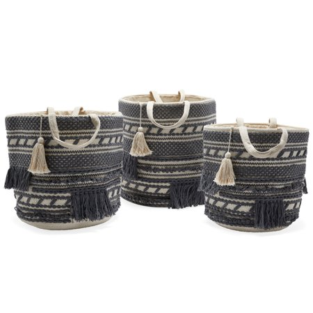 Hand Woven Macrame 3 Piece Basket Set, Natural and Charcoal by Drew Barrymore Flower Home ()