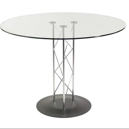 Modern Dining Table With Geometric Design Base Round Top Trave 36 In