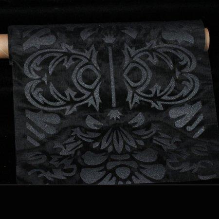 Sheer Black   Black Baripadar Cut Edge Craft Ribbon 11  X 10 Yards
