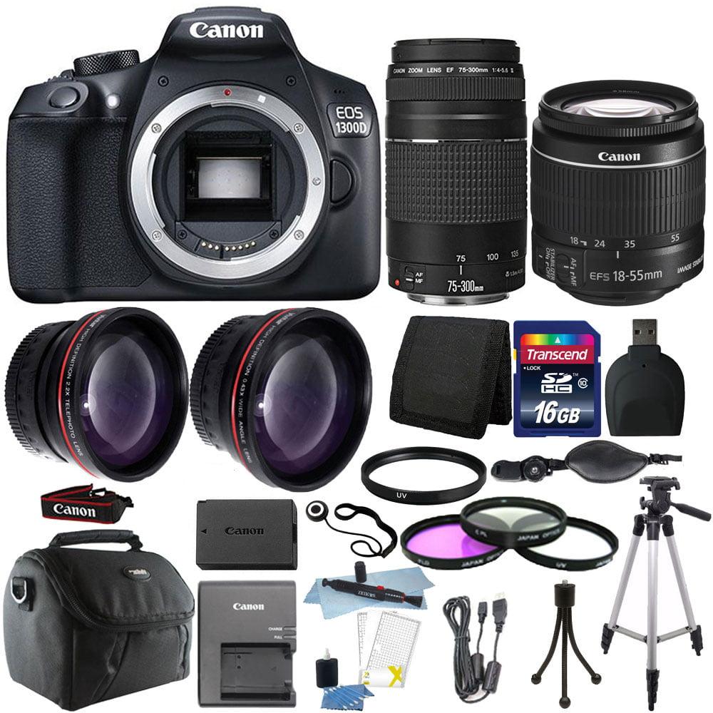 Canon EOS 1300D/T6 18MP DSLR Camera + 18-55mm + 75-300mm ...