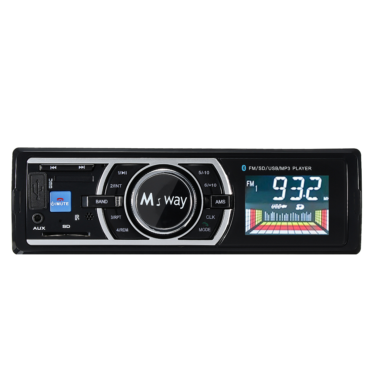 High Resolution LCD Single DIN Car Stereo Receiver with Built-In Bluetooth, USB, MP3 Player & Two 2-Way High Performance 240 Watt Car Speakers