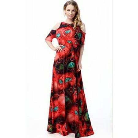 ef445b9aadf Unomatch - Women Long Length Plus Size Round Neck Maxi Dress Red -  Walmart.com