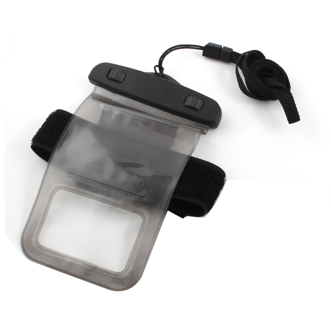 Unique Bargains Clear Gray Beach Rain Protecter Cellphone Bag Pouch Cover w Arm Band Neck Strap