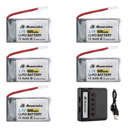 Powerextra 5-Pack 3.7V 600mAh LiPo Battery + 5-Port Battery Charger for Syma X5 X5C X5SW X5SC-1 CX-3W CX-31 M68 M68R UDI U45 RC Quadcopter Replacement Batteries