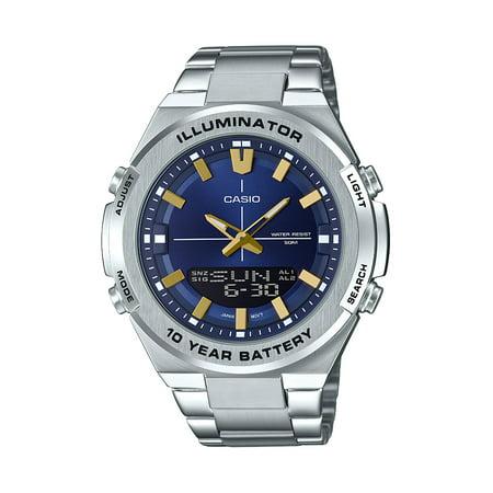 Casio Men's Multi-Function Stainless Steel Watch, Blue Dial Casio Mens Steel Watch