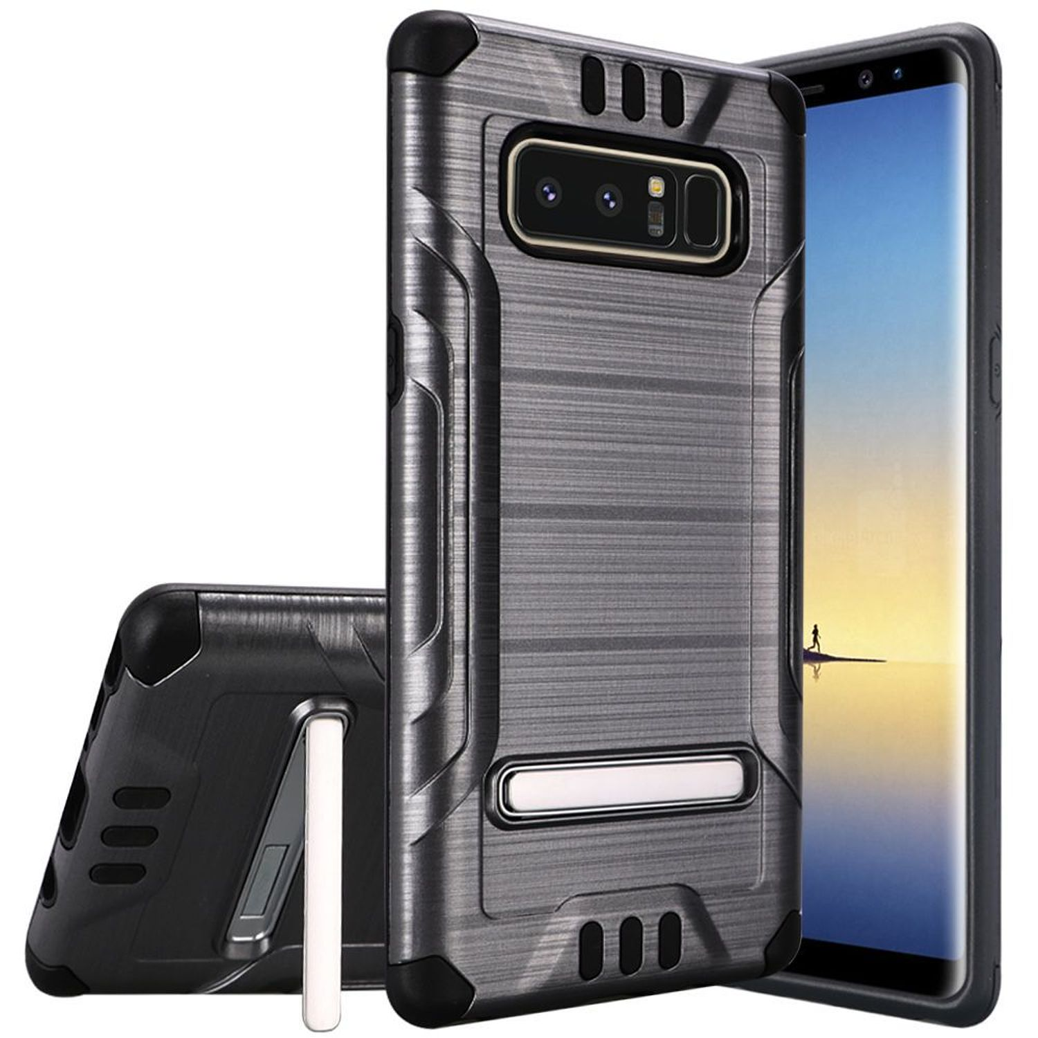 Samsung Galaxy Note 8 Case, by HR Wireless Shockproof Dual Layer Hybrid Stand Brushed Hard Plastic/Soft TPU Rubber Case Cover For Samsung Galaxy Note 8, Gray/Black