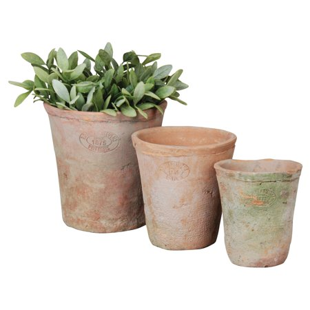 Esschert Design Aged Terracotta Round Pots - Set of 3 Aged Terra Cotta Pot