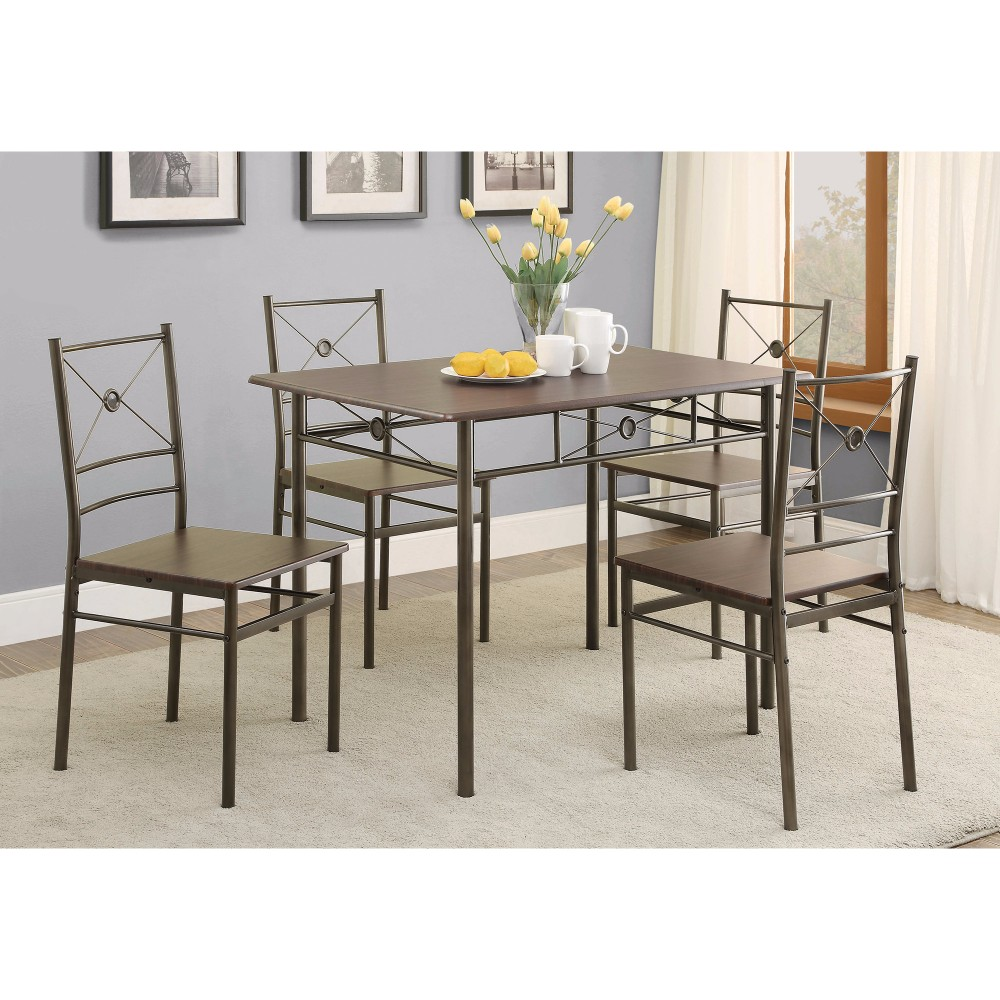 Ironlike Dining Table Set Of Five, Bronze