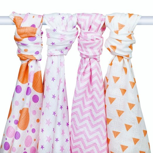 PREMIUM SUPER SOFT MUSLIN SWADDLE BLANKETS - 4 Baby Girl Receiving Blankets by Zig Zag Kid - Large 4