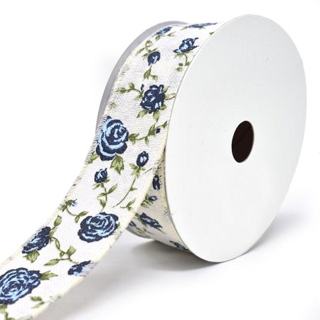 Blooming Rose Wired Canvas Ribbon, 1-1/2-Inch, 10-Yard, Blue (Wire Ribbon Roses)