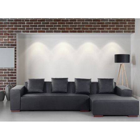 Velago Lungo Modern Low Profile Leather Sectional Sofa