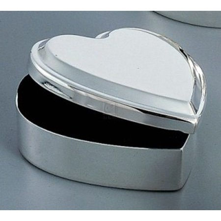 HEART BOX LIFT TOP, SILVER PLATED. ()