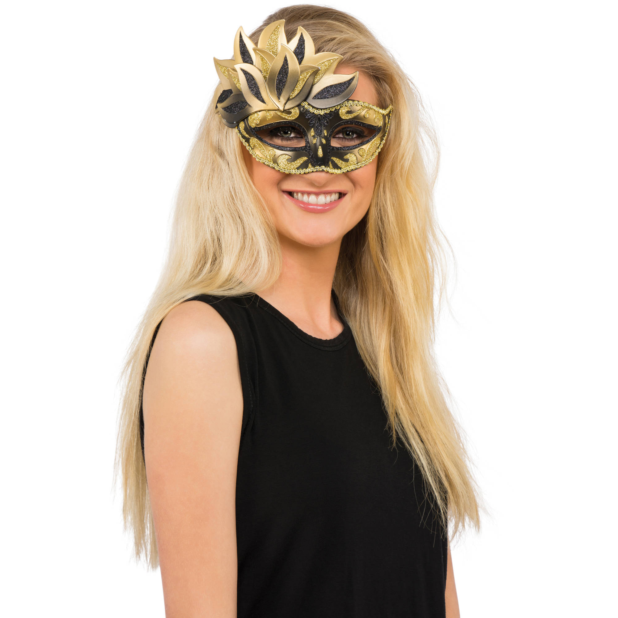 Black And Gold Carnival Mask Halloween Costume Accessory
