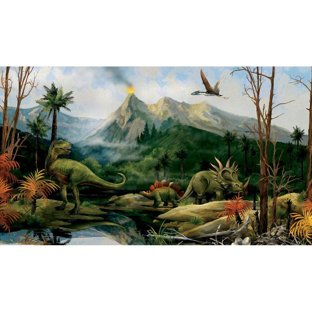 Dinosaur Jurassic Volcano Landscape Large Accent Wall Mural