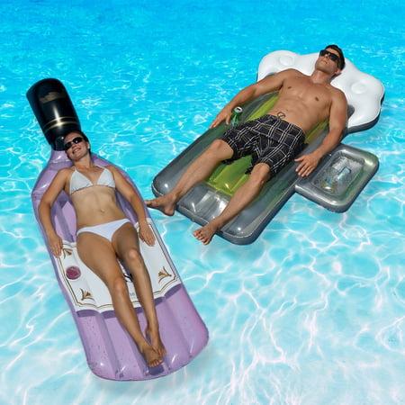 Swimline Bottle of Rose and Beer Mug Swimming Pool Floats Combo Pack