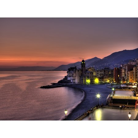 Coast Line With Santa Maria Assunta Basillica Looking West Towards Genova Camogli Italy Stretched Canvas - Richard Desmarais  Design Pics (32 x 24) Italian Line Design
