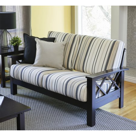 Handy Seat - Handy Living  Virginia Brown/Black Stripe X Design Loveseat with Exposed Wood Frame