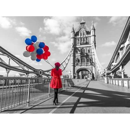 Tourist with colorful balloons on Tower Bridge London UK Poster Print by  Assaf - Balloon Towers