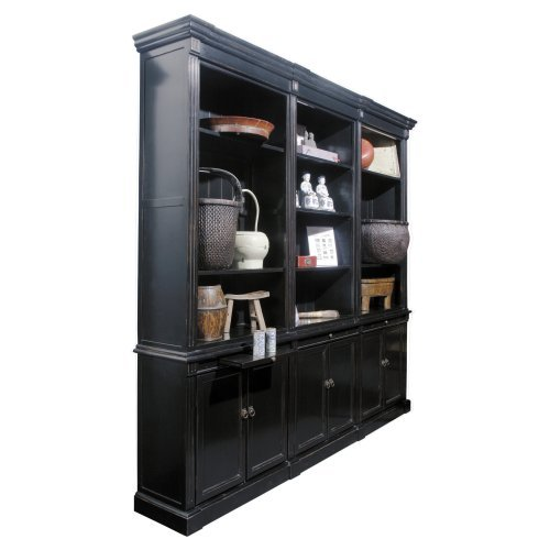 Solid Wood Triple Bookcase with Doors - Black
