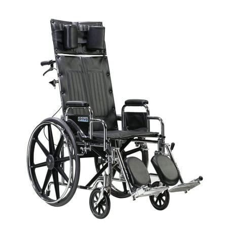 Sentra Reclining Wheelchair (Drive Medical Sentra Reclining Wheelchair, Detachable Desk Arms, 22