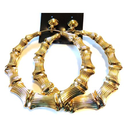 Clip-on Bamboo Hoop Earrings Large 3.5 inch Gold Tone Hoop (Gold Tone Bamboo)