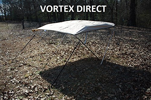 "New TAN BEIGE STAINLESS STEEL FRAME VORTEX 4 BOW PONTOON DECK BOAT BIMINI TOP 8' LONG, 97-103"" WIDE (FAST SHIPPING... by VORTEX DIRECT"