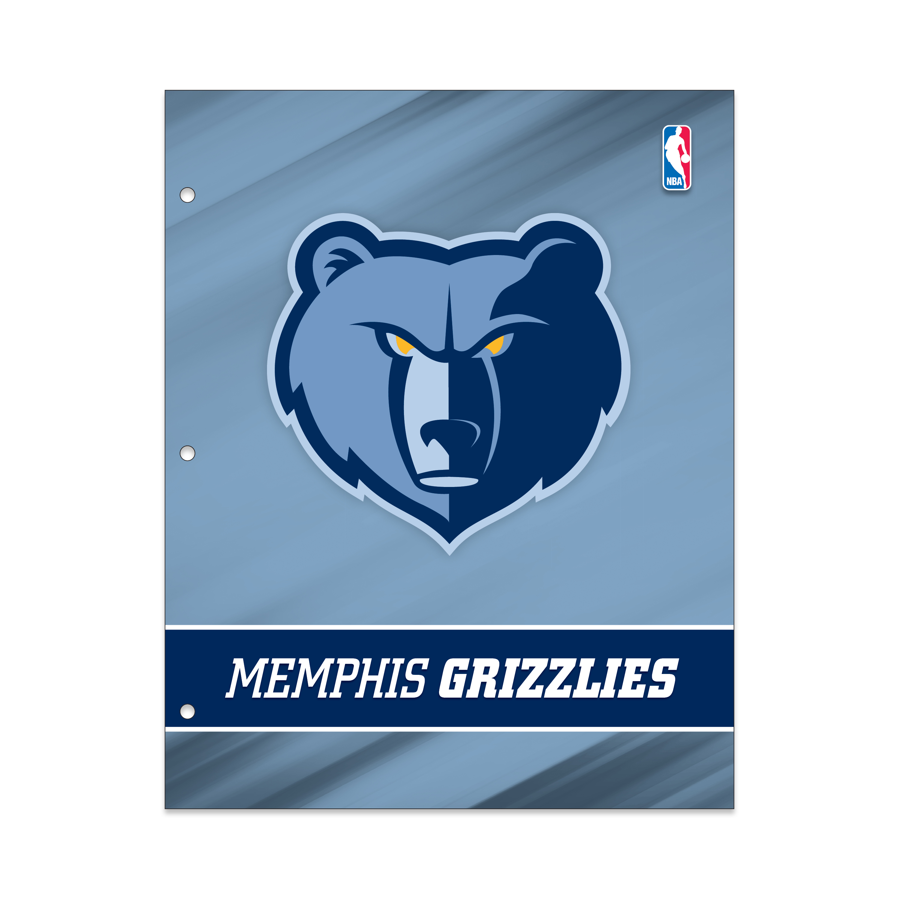 NBA Memphis Grizzlies 2 Pocket Portfolio, Three Hole Punched, Fits Letter Size