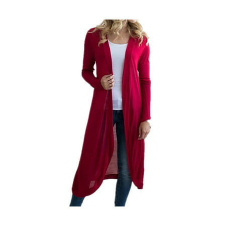 Knitted Outerwear - DYMADE Women Basic Long Sleeve Knit Open Front Cardigan Sweaters Outerwear