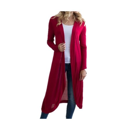 DYMADE Women Basic Long Sleeve Knit Open Front Cardigan Sweaters - Plus Cable Knit Trim Sweaters