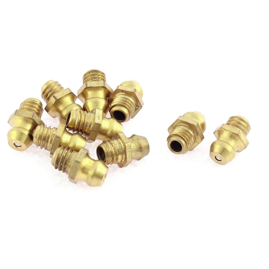 Unique BargainsGold Tone Brass 6mm Male Thread Straight Hydraulic Grease Nipple 10 Pcs