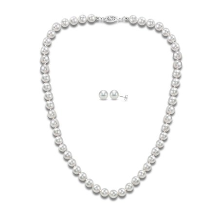 - 14Kt White Gold 6.5-7mm Japanese Akoya Cultured Pearl 18 Necklace and Earrings Set, AAA+ Quality