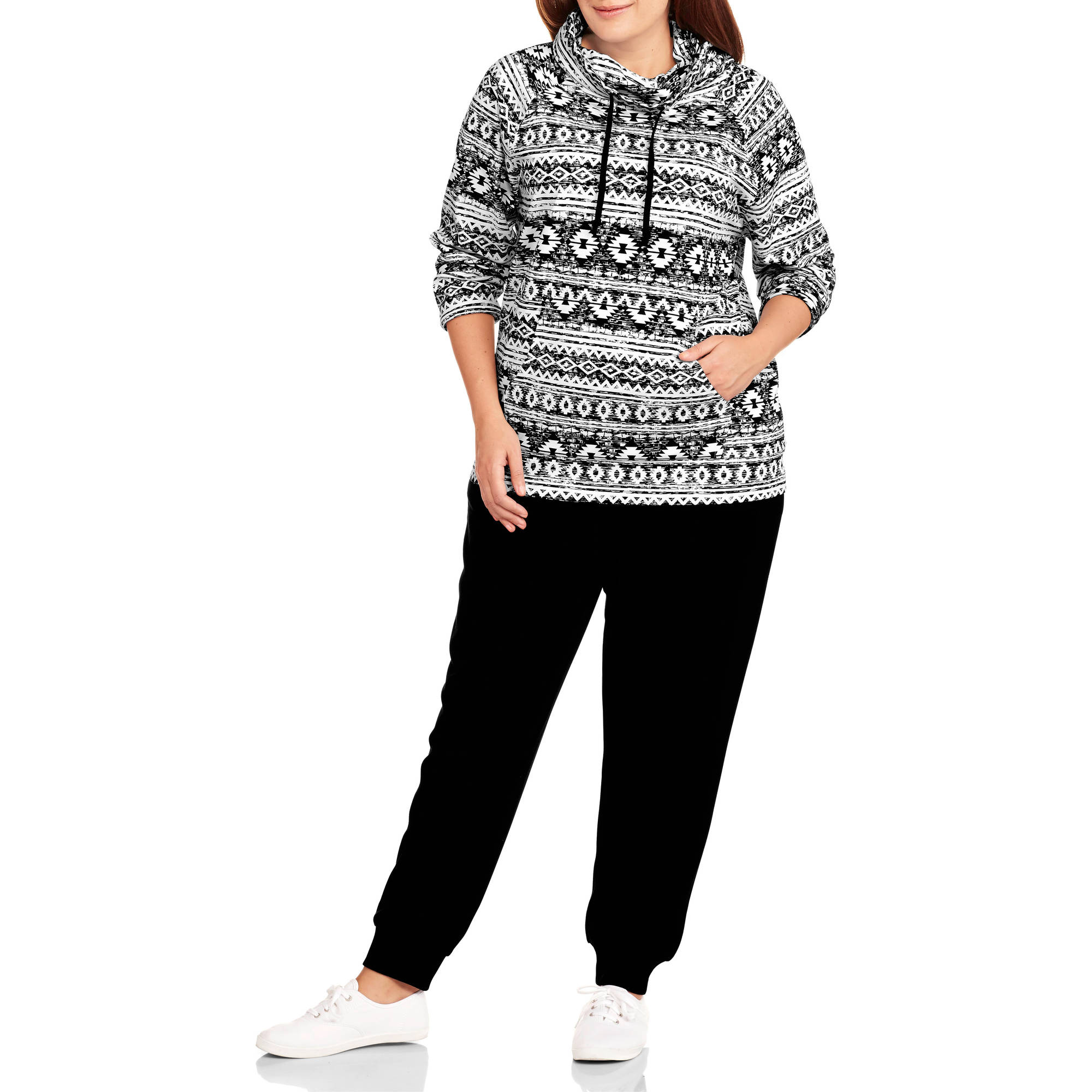 Allison Brittney Women's Plus-Size French Terry Pullover Hoodie and Jogger Pants Set