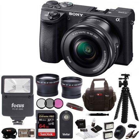 Sony ILCE-6300 a6300 4K Mirrorless Camera w/ 16-50mm Lens & 64GB Pro Bundle