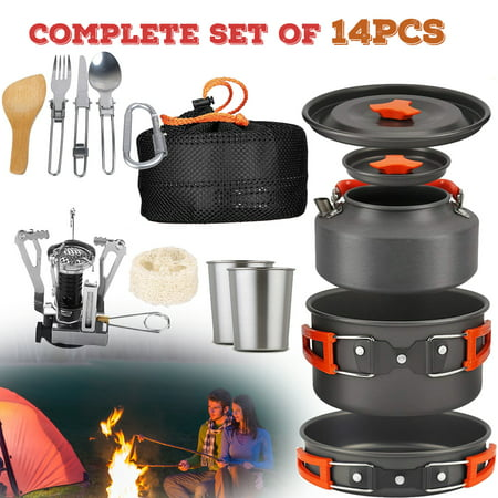 14 PCS Camping Cookware Set Campfire Pot Pan Utensils – Camp Cooking Backpack Mess