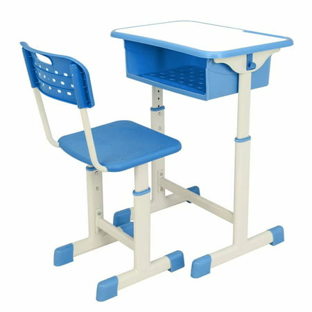 Clearance!Adjustable Student Homework Desk and Chair Kit Blue For children of 3-14 years old Children Gift ()