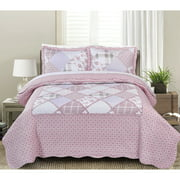 MHF Home Dharma Floral and Plaid Patchwork 3-piece Quilt Set