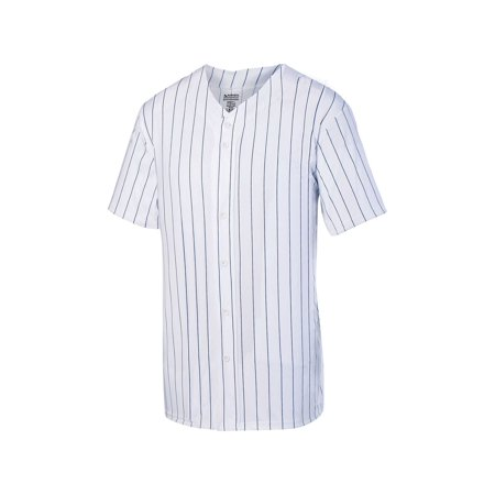 1685 Augusta Sportswear Jersey Men's Pinstripe Full Button Baseball (Ribbed Two Button Jersey)