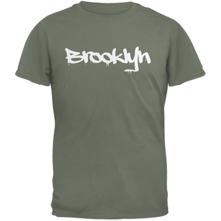 Adult Military Green T-shirt - New York City Brooklyn Graffiti Military Green Adult T-Shirt