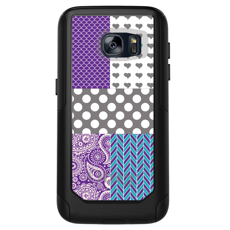 DistinctInk™ Custom Black OtterBox Commuter Series Case for Samsung Galaxy S7 - Purple Teal Grey Patterns