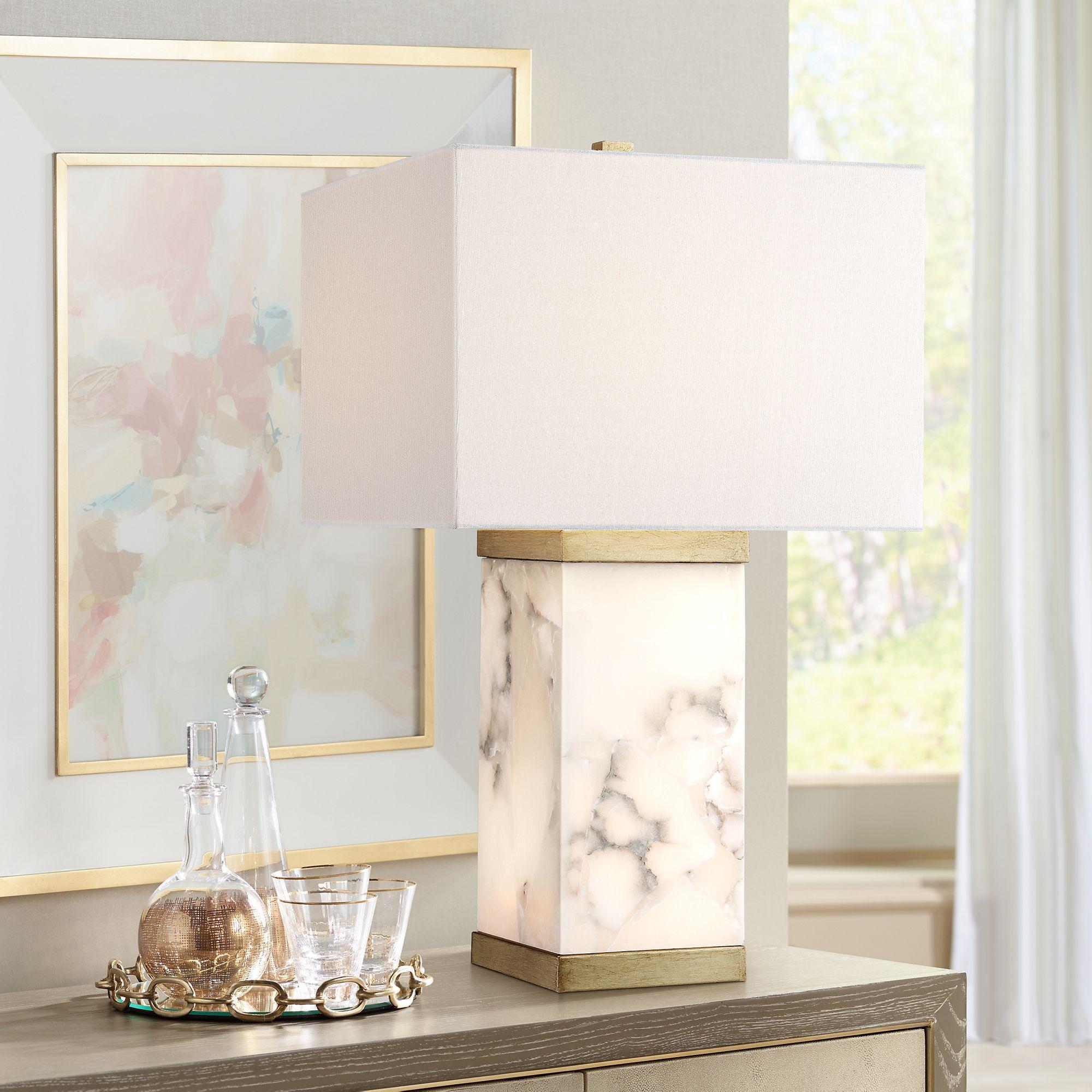 Possini Euro Design Possini Euro Mindy Alabaster Table Lamp With Night Light