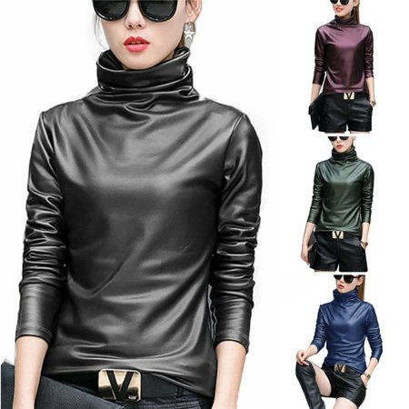 Generation Leather Sleeve (Sexy Women Pu Leather Blouse Turtleneck Long Sleeve Faux leather Wet Look Strechy T-shirt High neck Ladies Tops Plus Size )