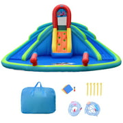 Gymax Inflatable Bounce House Water Park w/ Splash Pool Dual Slides Climbing Wall